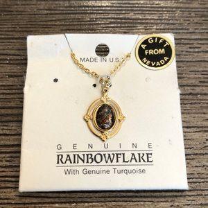 Rainbowflake Necklace Gold Flake & Turquoise Resin